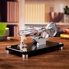 Double-cylinder Micro DIY Stirling Engine External Combustion Engine School Demonstration Early Learning Education Toys for Kids metal baseboard double cylinder micro diy stirling engine external combustion engine