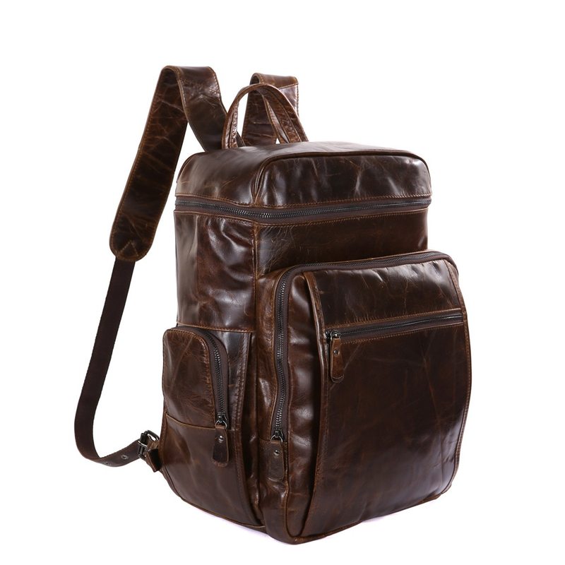 JMD Cowhide Genuine Leather Laptop Backpack Vintage Casual Backpacks Men's Travel Bag 15.6 inch Computer School Bags Daypack jmd backpacks for teenage girls women leather with headphone jack backpack school bag casual large capacity vintage laptop bag