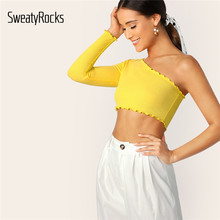 SweatyRocks One Shoulder Lettuce Trim Crop Tee Streetwear Basic Sexy Slim Yellow T-shirt 2018 Summer Women Stretchy Solid Tees(China)