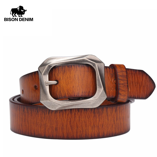 BISON DENIM 2017 nouvelle arrivée TOP véritable cuir Femmes ceintures  boucle ardillon ceinture vintage top qualité 780ac9a7b6b