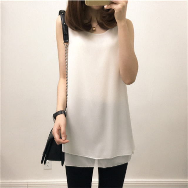 Large Clothing 2017 New Summer Women Clothing Loose Solid Tanks Fashion Causal Style Good Quality Sleeveless Chiffon Long Style