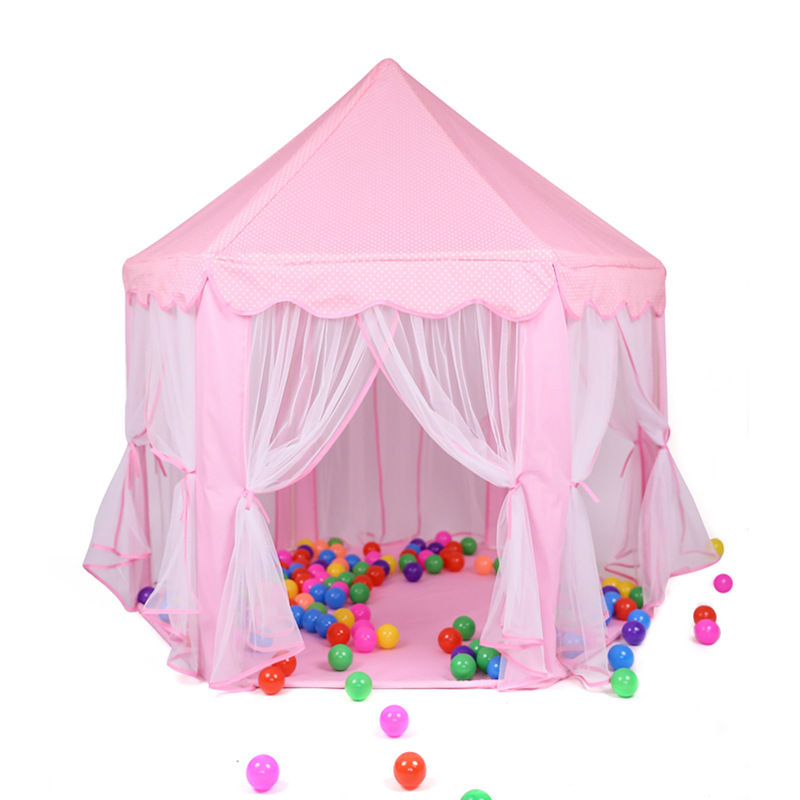 Foldable Girl Princess Pink Castle Tents Playhouse Ball House Children Playing Sleeping Tent Indoor Outdoor Portable Play Tent