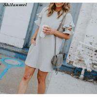 Summer Round Neck Short Sleeved Dress 2019 Fashion Straight Solid Ruffles Mini Club Dress Casual Party T Shirt Dresses For Women