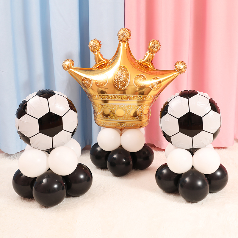 Image 2 - 10pcs Green Football Soccer Theme Party Balloons Black White latex Balloon for Boys Birthday Games Toys Party Decor Supplies-in Ballons & Accessories from Home & Garden