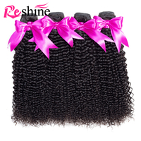Reshine Mongolian Kinky Curly Hair Bundles 100% Human Hair 3/4 Bundles 10 26 Inches Natural Color Remy Hair Weaves Extensions