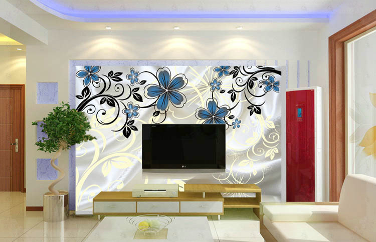 New Simple Fashion Design 3 D Non Woven Tv Sitting Room Background