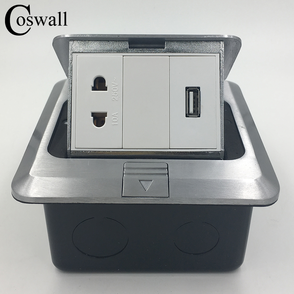 Coswall All Aluminum Silver Panel 2 Hole Universal Pop Up Floor Socket...