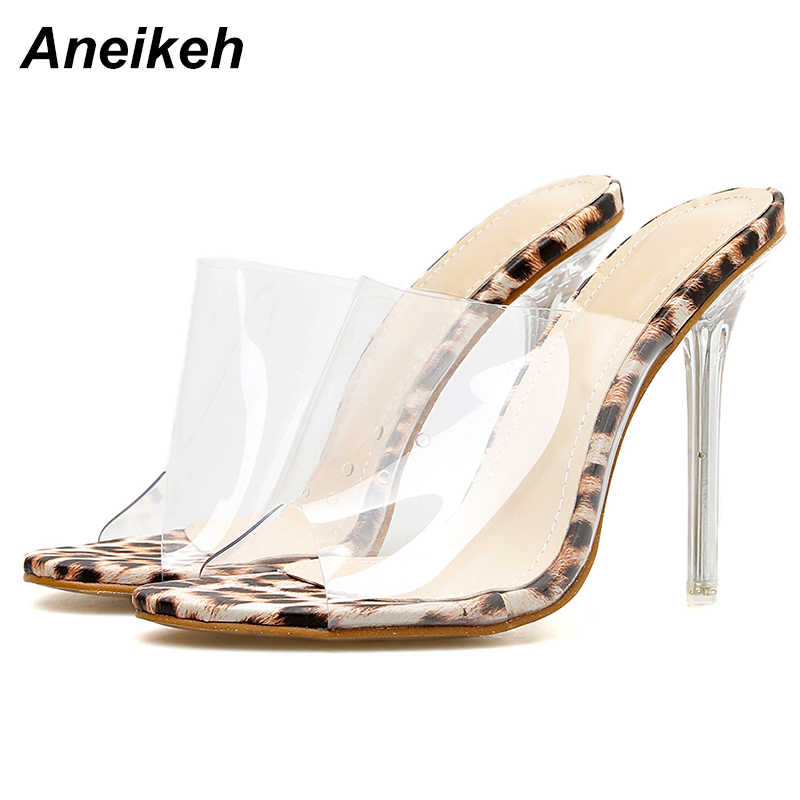 5d81c7aa7db Aneikeh Big Shoes 41 42 Leopard Print Sandals Open Toe High Heels Women  Transparent Perspex Slippers