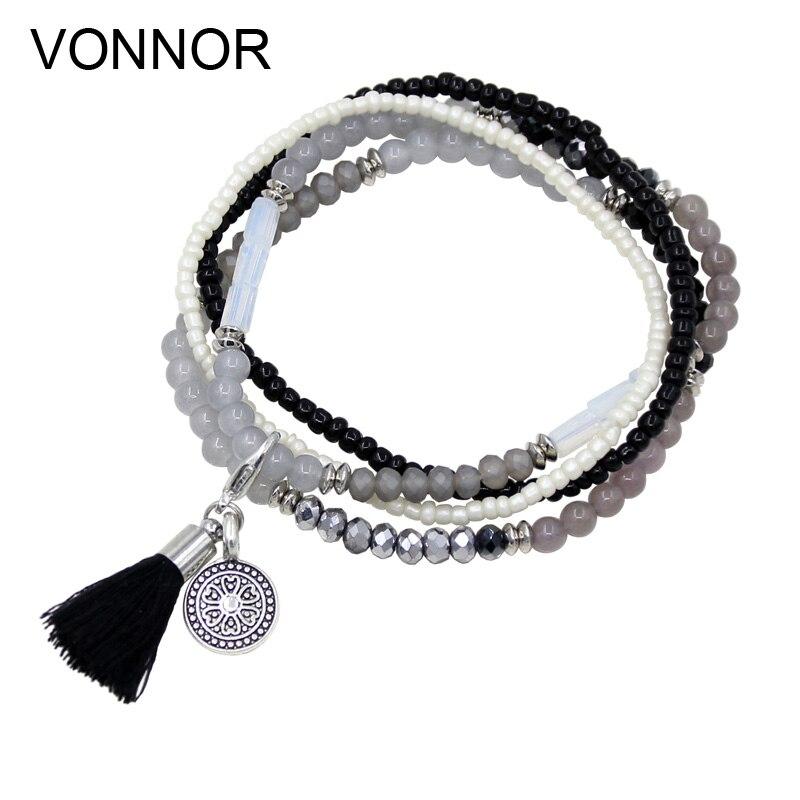 VONNOR Jewelry Women's Multi-layer Winding Bracelets Mixed Beads Glass Crystal Strand Alloy Tassel Pendant Bracelets