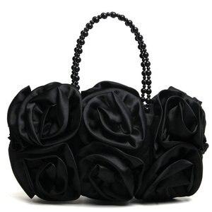 Image 4 - Женский атласный клатч Boutique De FGG, красный цветок Роза Буш, вечерняя бисерный кошелек с ручкой, свадебная сумка