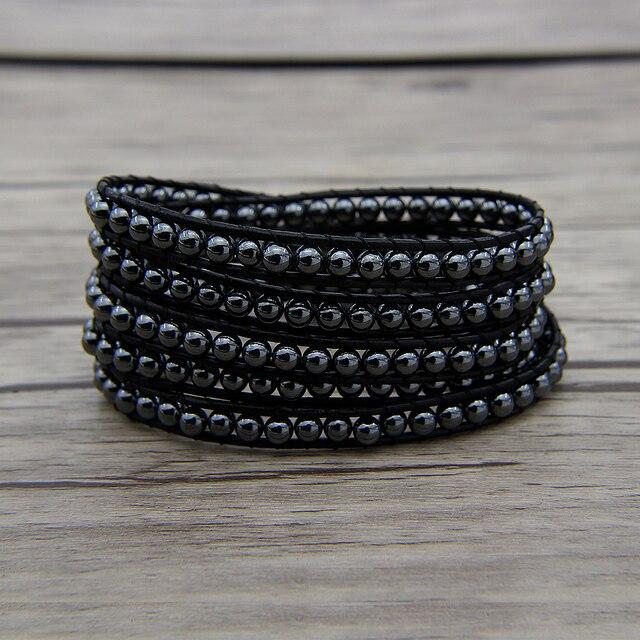 Black Hemae Beads Wraps Bracelet 5 Beaded Leather Yoga Wrap Dropshipping Gypsy