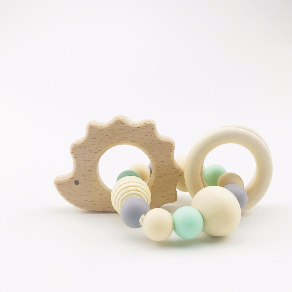 Quality In Sensible Baby Wooden Teether Beech Hedgehog Wood Teething Montessori Toys Baby Rattle Diy Chewable Crochet Beads Baby Teether Superior