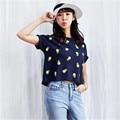 2016 New Fashion Women clothing Short T shirts Pineapple Print t-shirt Women Top Short Sleeve Female Fruit tops 71678