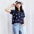 2016 Nuevas Mujeres de La Manera ropa Corta camisetas Piña Imprimir camiseta de Las Mujeres Top de Manga Corta de Fruta Hembra tops 71678