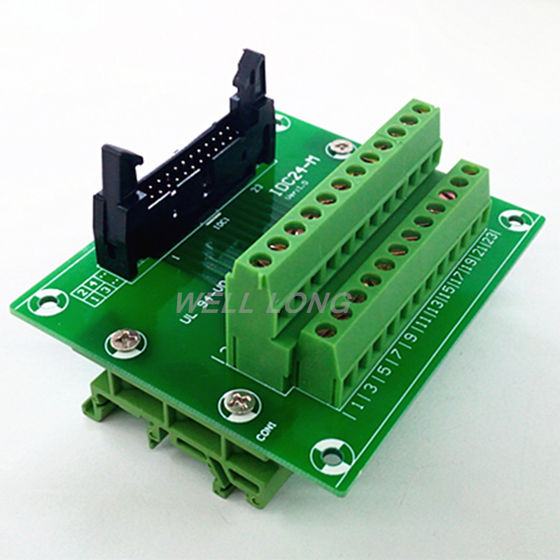 IDC24 2x12 Pins 0.1 Male Header Breakout Board, Terminal Block, with Simple DIN Rail Mounting feet.