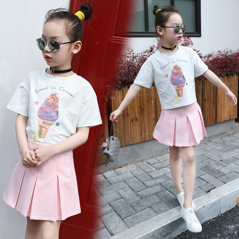 Garment 2017 Summer New Pattern Girl Cartoon Short Sleeve Pity + Pink Colour Short Skirt Suit 2 Pieces Kids Clothing Sets summer child suit new pattern girl korean salopettes twinset child fashion suit 2 pieces kids clothing sets suits