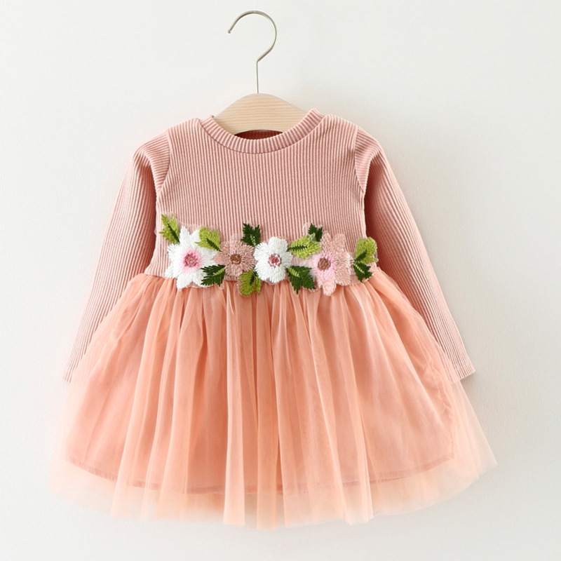 2018 Toddler Baby Long Sleeve Dress Baby Girl Clothing Flower Infant Girl Dresses Spring Lace Princess Party Prom Tulle Dresses spring autum baby girl dress princess dress baby girls party for toddler girl dresses clothing long sleeve tutu kids clothes