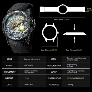 Image 4 - MEGALITH Fashion Dragon Sculpture Watch Men Waterproof Big Dial Quartz Watch Luxury Emboss Men Watch Top Luxury Brand Clock 8041