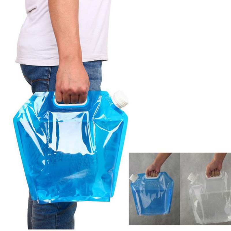 1PC 5L Outdoor Bag Camping Tourism Bucket Folding PE Collapsible Picnic Water Storage Bag Portable Carrier Water Fold Onboard