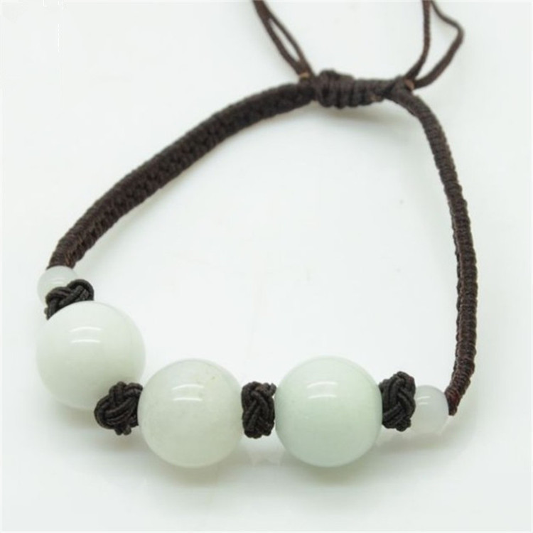 Natural Burmese stone bracelet light white round beads hand string exquisite female jewelry JADES jewelry