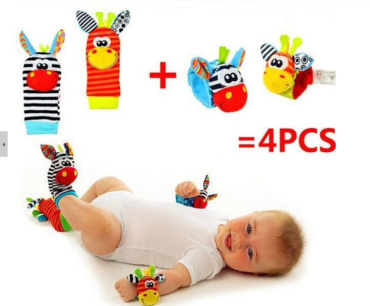 4pcs/lot=2 pcs waist+2 pcs socks, 2015 New Hot Toy Baby Rattle Toys Garden Bug Wrist Rattle and Foot Socks Free shipping WJ031