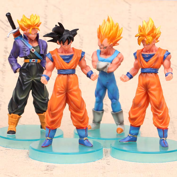 NEW hot 13cm 4pcs/set Dragon ball Super Saiyan Trunks vegeta Son Goku Kakarotto action f ...