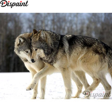 Dispaint Full Square/Round Drill 5D DIY Diamond Painting Animal wolf couple 3D Embroidery Cross Stitch Home Decor Gift A12777