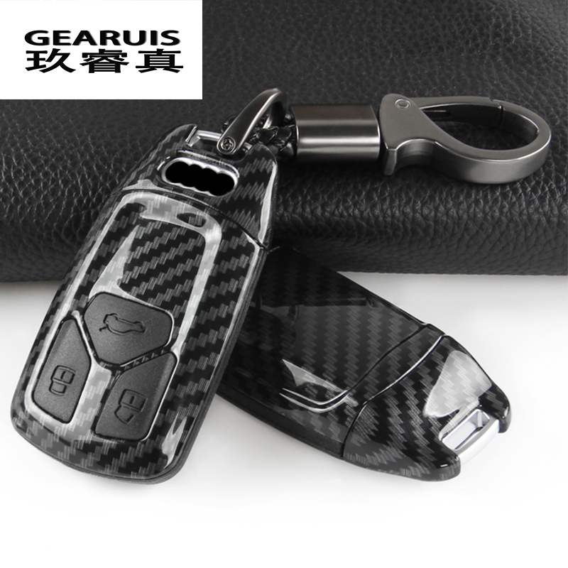 Car Styling Key Rings Protection Cover Sticker for <font><b>Audi</b></font> <font><b>A4</b></font> B9 A5 S5 Q7 TT Protect Shell Cover Case Interior auto Accessories image