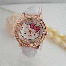 Лидер продаж Gogoey Марка hello kitty часы детская одежда для девочек Женщины Кристалл платье кварцевые наручные часы Дети часы kt020