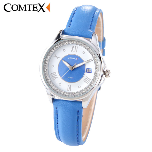 fece3989d COMTEX watch women Leather Strap Casual Stainless Steel Case friend Blue  White Date Analog quartz wristwatch clock for Lady gift