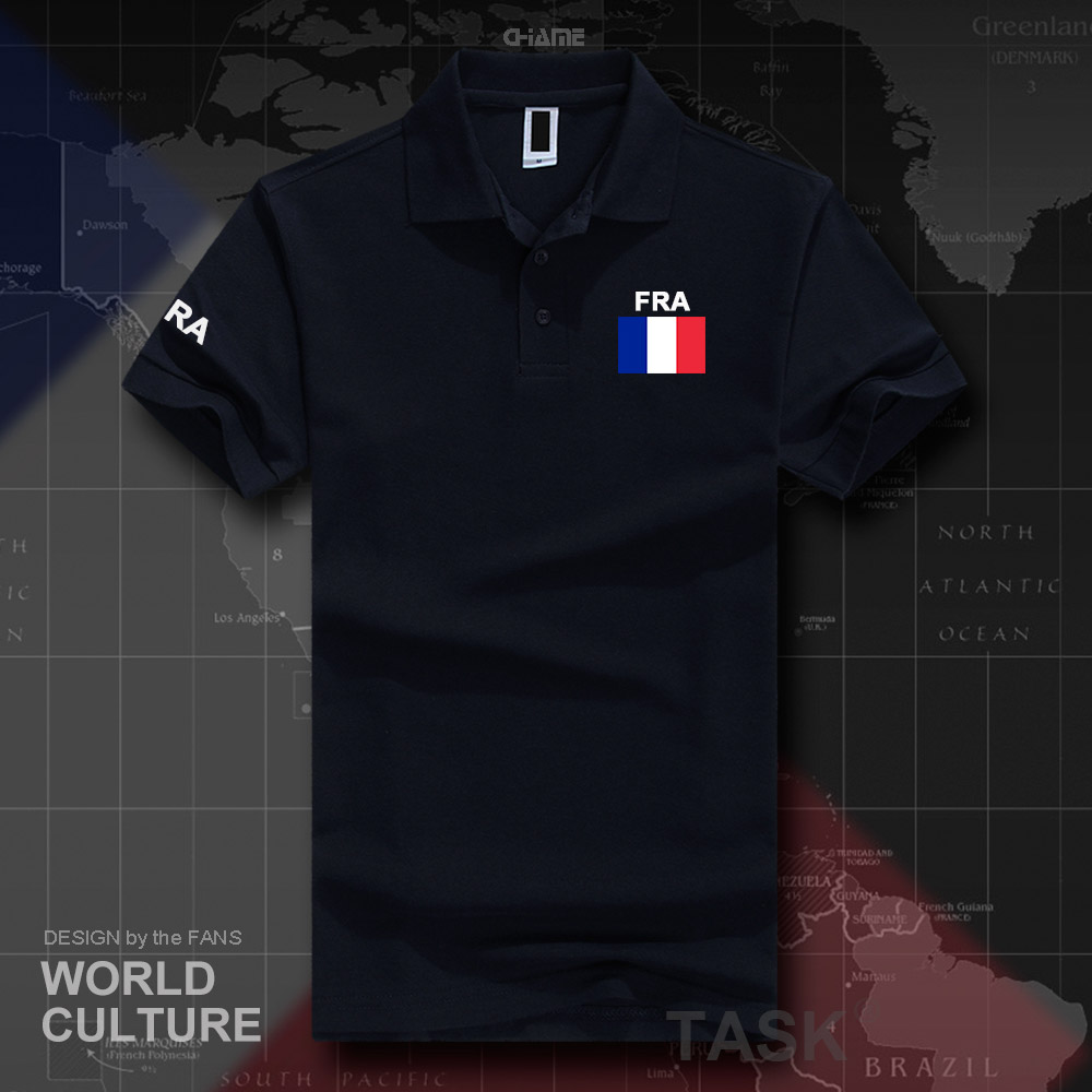 France République Française polo chemises hommes manches courtes blanc marques imprimé pour pays 2017 coton nation équipe FRA 2017 casual
