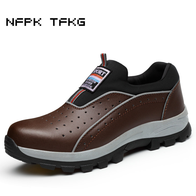 big size men fashion breathable steel toe cap working safety shoes genuine leather slip-on tooling boots protection footwear