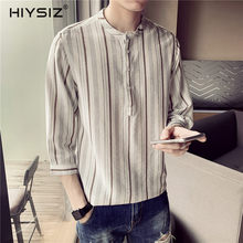 HIYSIZ New Shirts 2019 Casual Streetwear Contracted Fashion Trend Mens loose-fitting stripes sleeveless shirts For Summer ST408