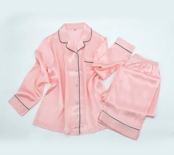 New silk pajamas, women's long sleeve trousers, 100% silk shirts, lapel pink silk home clothes 6