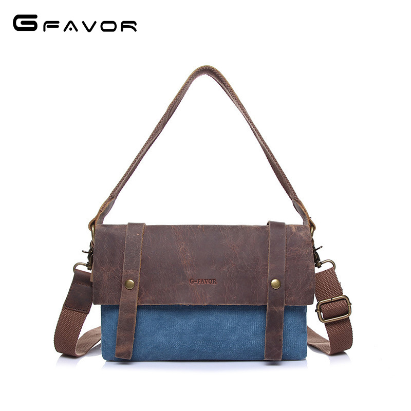 G-FAVOR Vintage Canvas Crossbody Bag Men Shoulder Bag Women Fashion Crazy Horse Leather Multifunction Zippers Bag 2018 Handbags japanese pouch small hand carry green canvas heat preservation lunch box bag for men and women shopping mama bag