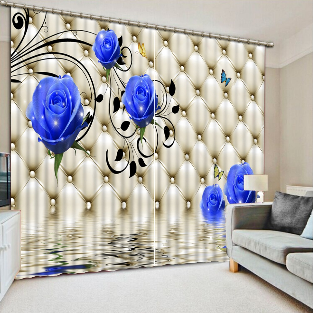 Custom 3d Modern Curtains Soft Rose Water Surface 3d Kitchen Curtains Short 3d Curtains For Bedroom Living Room Photo Curtains