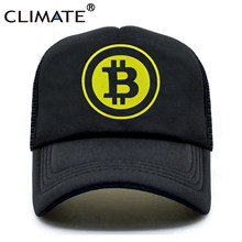 CLIMATE New Men Women Trucker Cap Hat BitCoin Bit Coin Mining Funny Caps Summer Hip Hop Mesh Cool Caps Hat for Men Women Youth(China)