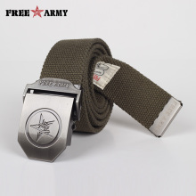 FreeArmy Canvas Belts Military Mens Adjustable Plain Unisex Casual Strap Army Green Tactical Belt Automatic Buckle Designer Belt