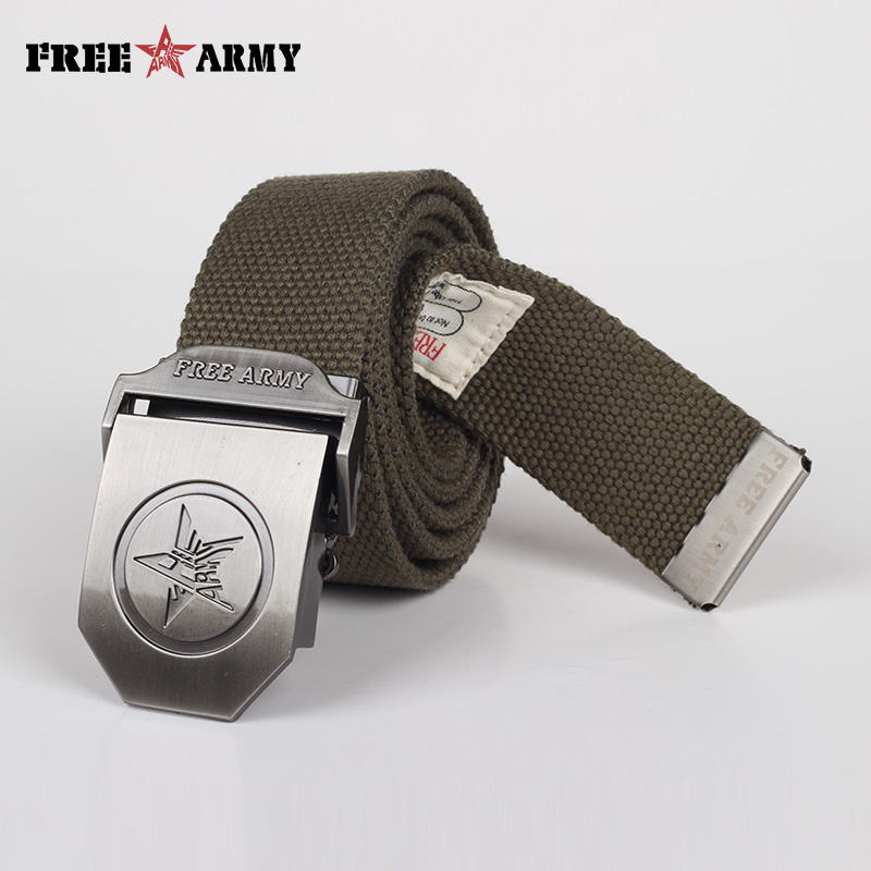 FreeArmy Canvas Belts Militär Herr Justerbar Vanlig Unisex Casual Strap Army Green Tactical Belt Automatic Buckle Designer Belt
