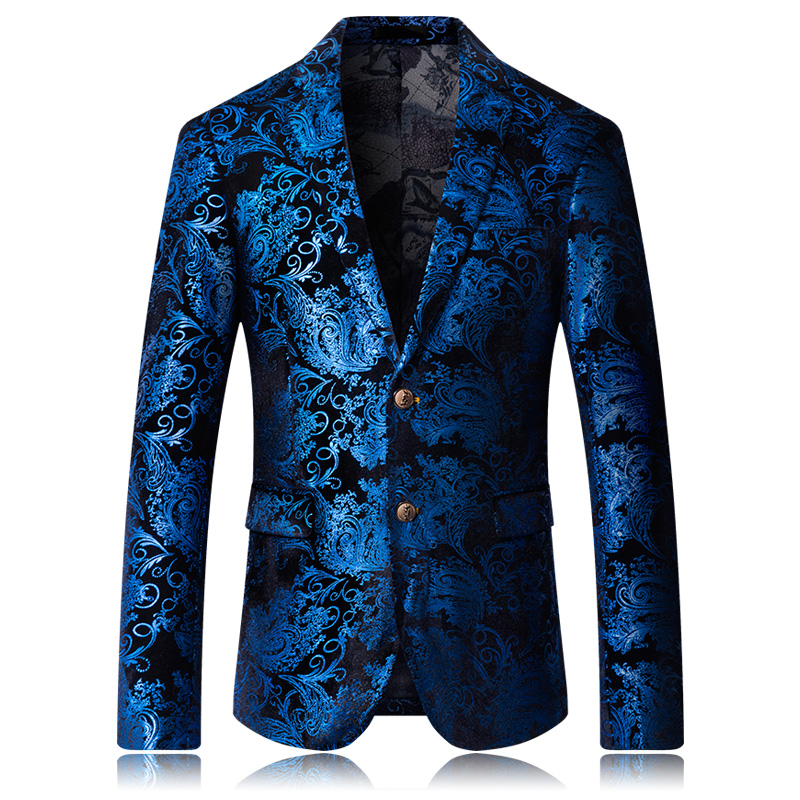 High Quality Men's Suit Jacket Fashion Printing 2019 New Casual Wedding Stage Party Business Casual Suit Flower Coat M-5XL
