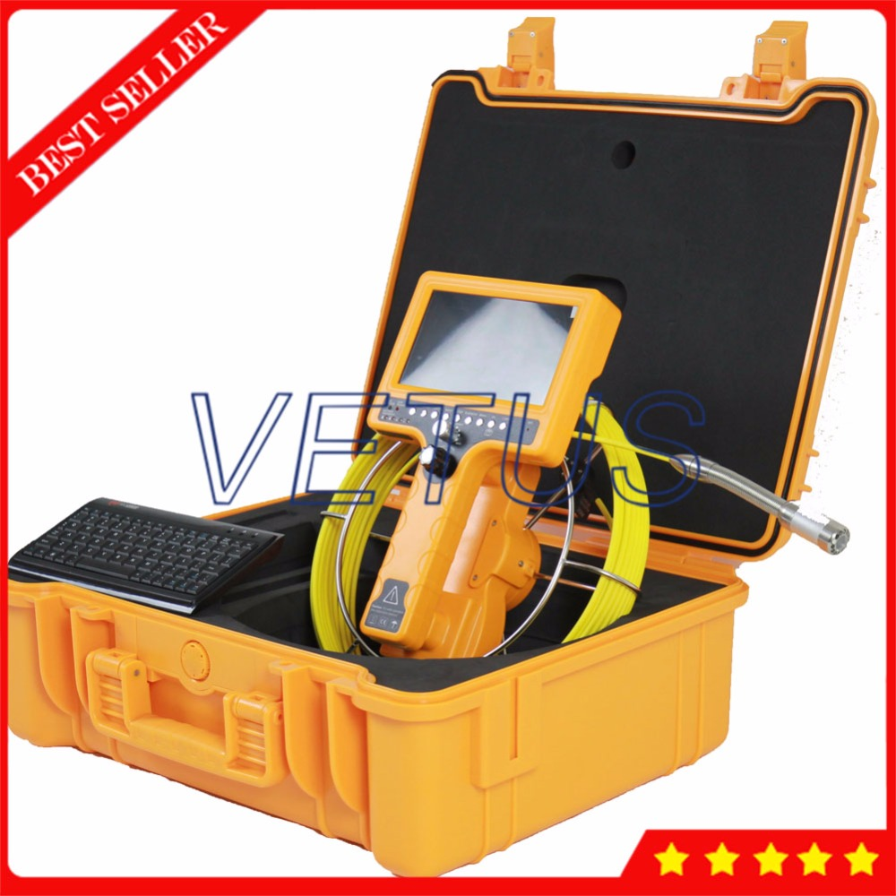 30m Endoscope Sewer Drain Pipeline Inspection Video 28mm Camera with built in Locating Transmitter Keyboard Meter Counter