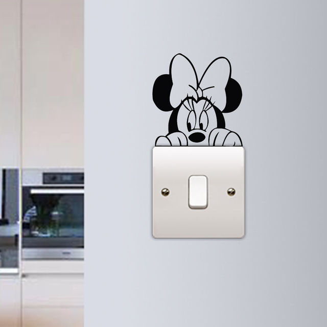 Minnie Mouse Wall Sticker Children Kids Room Light Switch Wall Vinyl Decal Home Decor Cute Minnie Switch Removable Murals AY894