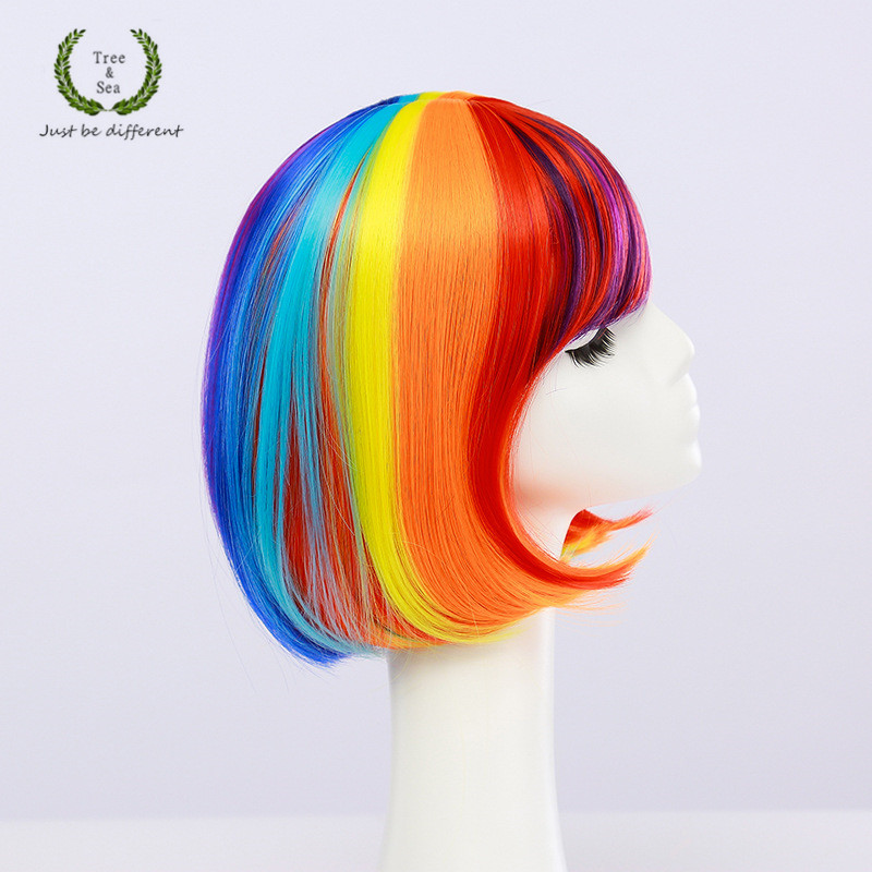 LGBT Pride Mix Colors Rainbow Wig Mardi Gras Festival Colorful Hair Gay Pride Parade  Wig Costumes