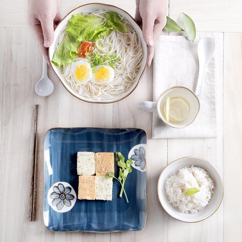 Ensemble de vaisselle en céramique 7 pièces | Cadeau de noël Style japonais fleur peinte à la main pour la maison vaisselle porelain assiette bol de riz tasse