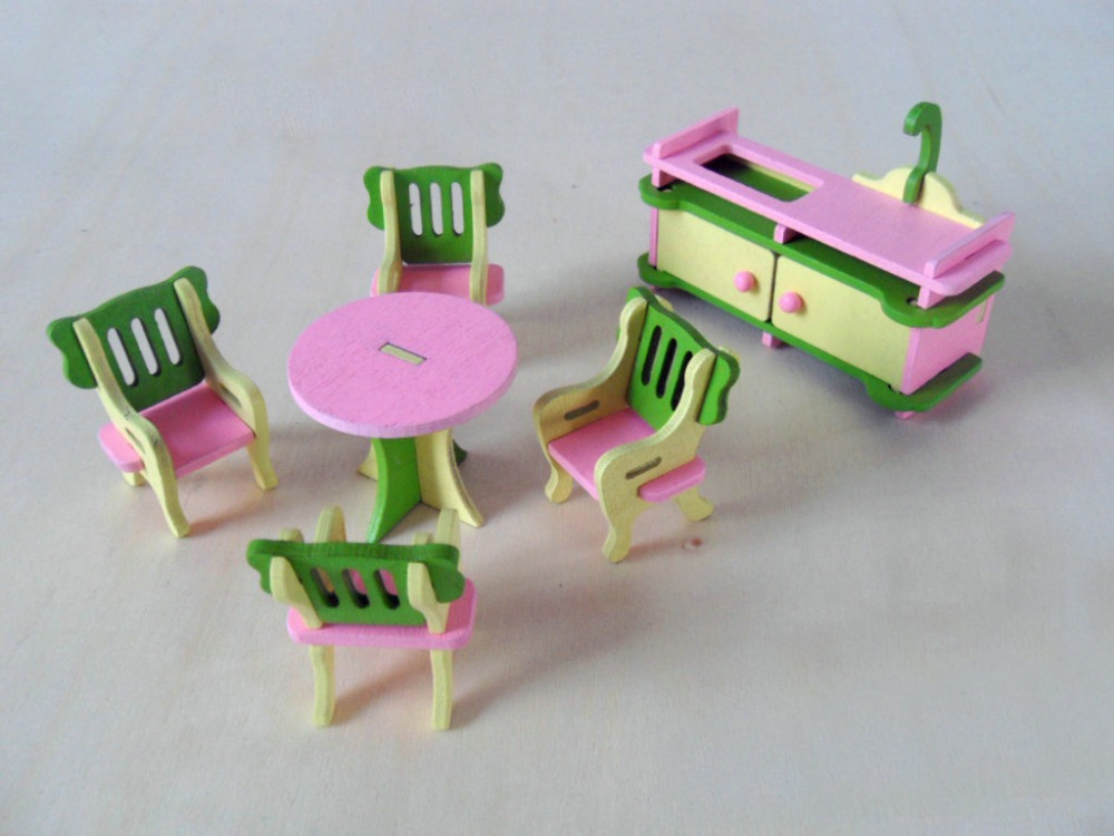 w002 new children gift kids wooden toy furniture doll house set diy educational toys kitchen 1 building doll furniture