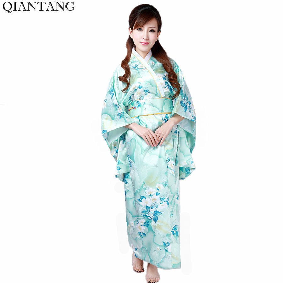 ღია ცისფერი ცხელი გაყიდვა ტრადიციული იაპონური ქალების Kimono Haori Obi Yukata Faux აბრეშუმის სატინის საღამო კაბა ყვავილი ერთი ზომა H0047