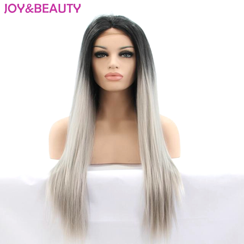 JOY&BEAUTY Heat Resistant Hair Long Straight Lace Front Wig Synthetic Hair Wig Black Omb ...