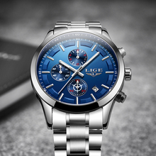 LIGE Mens Watches Top Brand Luxury Men's Fashion Quartz Watch Men All Steel Sport Waterproof Clock Chronograph Relogio Masculino цена и фото