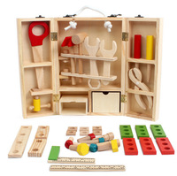 Baby Educational Toys Tool Kit Children Play House Classic Wooden Toy Kids Tools Hammer Toolbox Simulation