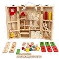 Juguetes educativos del bebé Kit de herramientas niños jugar a las casitas clásico juguete de madera los niños las herramientas martillo de simulación de la caja Tool Kit juguetes W070